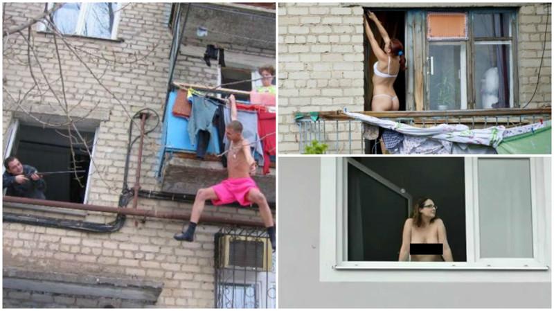 Частные засветы девушек-соседок в окнах и на балконах