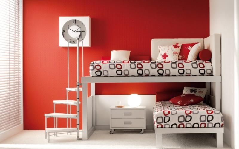 Отличный вариант с кроватями, которые расположены не параллельно друг другу двухъярусная кровать, дизайн, идеи, маленькая квартира