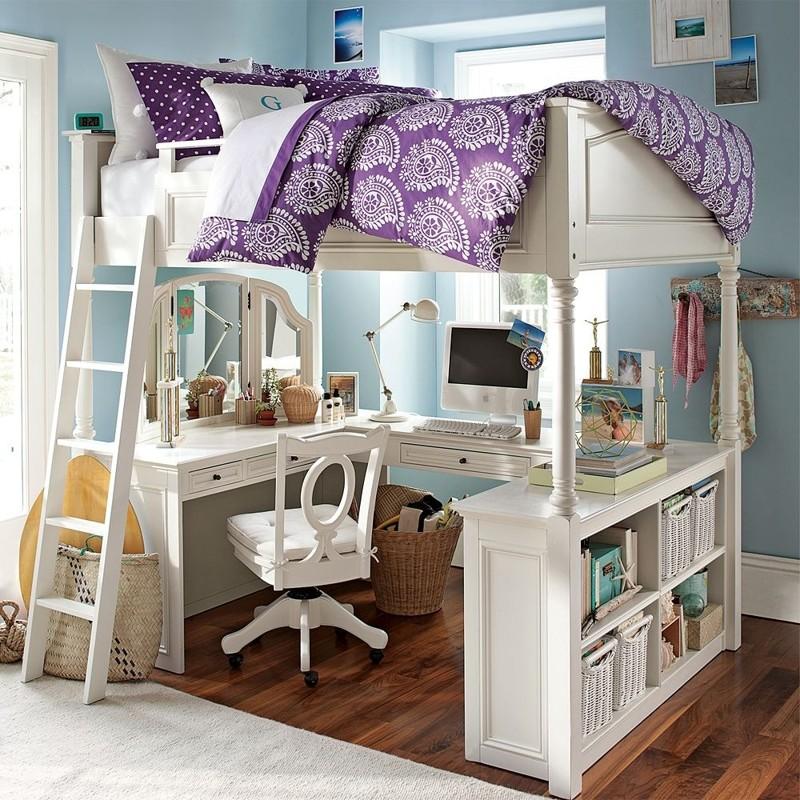 Лофт-кровать — это уже другое. Здесь присутствует только одно спальное место наверху, а нижний ярус отведён под рабочую зону двухъярусная кровать, дизайн, идеи, маленькая квартира