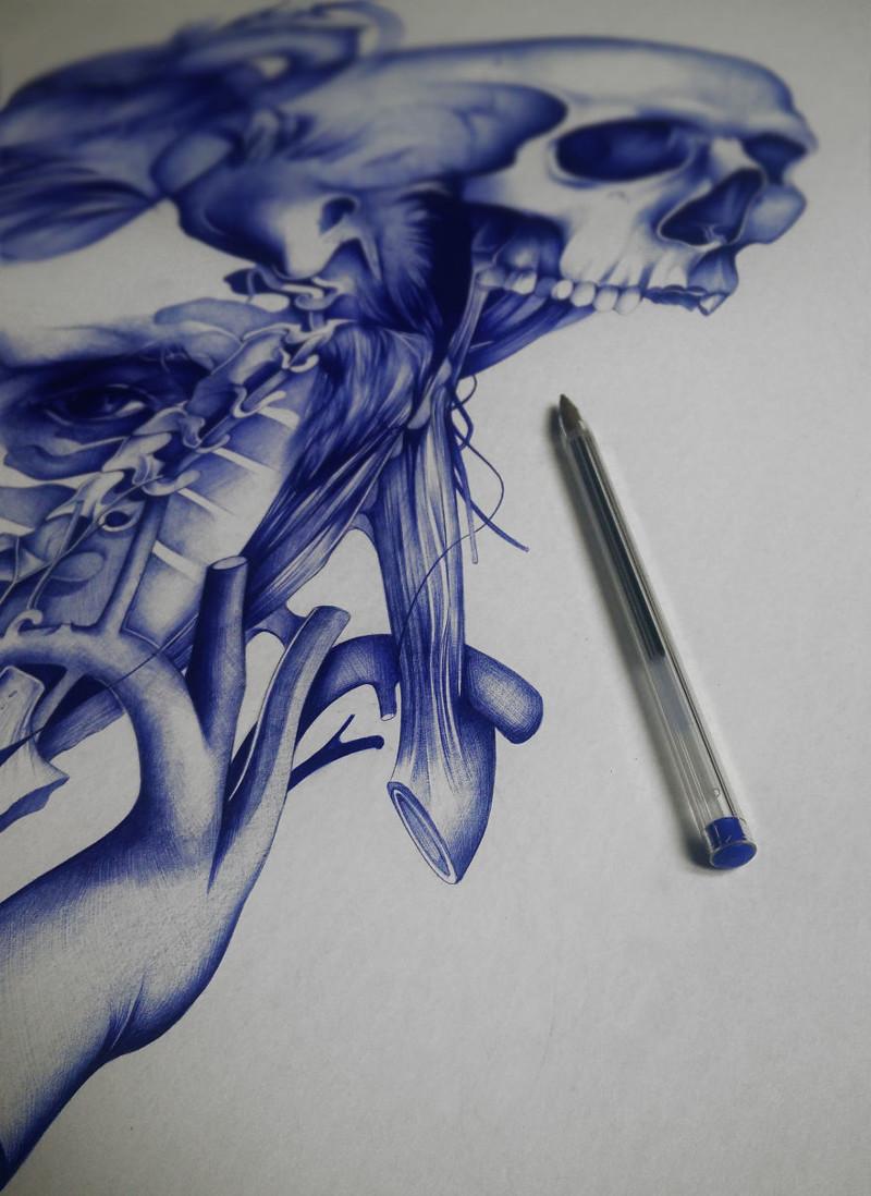 Фото шариковой ручкой рисунки