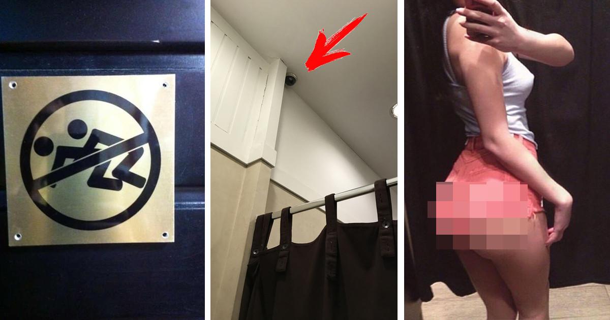 Соблазнительные девушка мастурбирует в примерочной магазина девушки кафе под