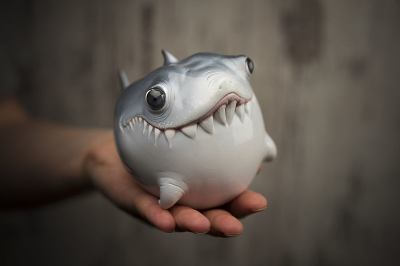 Малыш акулы art, креатив, куклы, полимерная глина, ручная работа, рыбы, творчество, фото
