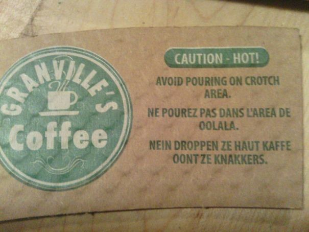 """""""Осторожно - горячо! Избегайте проливания на штаны"""" инструкция по применению, креатив, правила, руководство, смешно, фото, юмор, ярлык"""