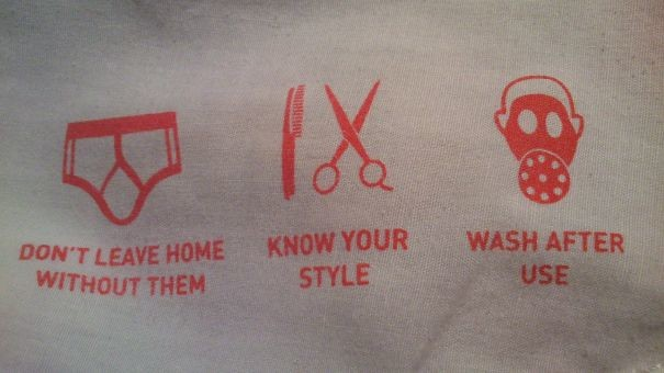 """Нижнее белье: """"Не выходи без них из дома. Следи за гигиеной. Стирай после носки"""" инструкция по применению, креатив, правила, руководство, смешно, фото, юмор, ярлык"""