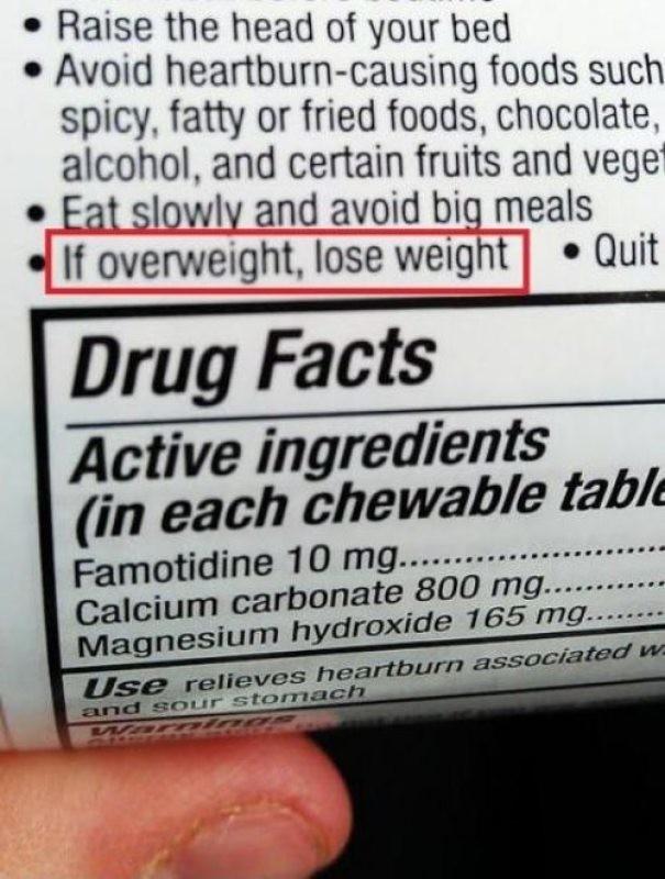 """Честная инструкция к таблеткам: """"Если у вас есть лишний вес, худейте"""" инструкция по применению, креатив, правила, руководство, смешно, фото, юмор, ярлык"""
