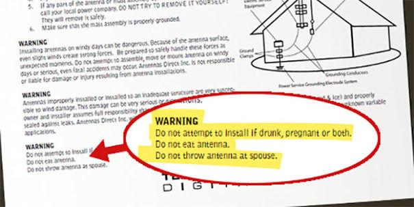 """""""Запрещено доверять установку лицам в состоянии алкогольного опьянения и беременным женщинам. Запрещено есть антенну. Запрещено бросать антенну в супруга/супругу"""" инструкция по применению, креатив, правила, руководство, смешно, фото, юмор, ярлык"""