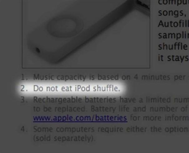 "Инструкция к iPod shuffle: ""Не ешьте iPod shuffle"" инструкция по применению, креатив, правила, руководство, смешно, фото, юмор, ярлык"