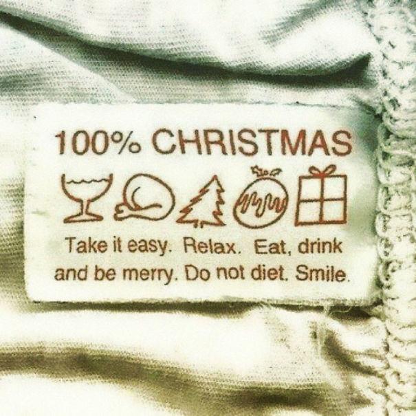 """""""100 % Рождества: Успокойся. Расслабься. Ешь, пей, веселись. Не сиди на диете. Улыбайся"""" инструкция по применению, креатив, правила, руководство, смешно, фото, юмор, ярлык"""