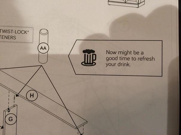 """Пометка на инструкции по сборке мебели: """"А сейчас можете немного выпить"""" инструкция по применению, креатив, правила, руководство, смешно, фото, юмор, ярлык"""
