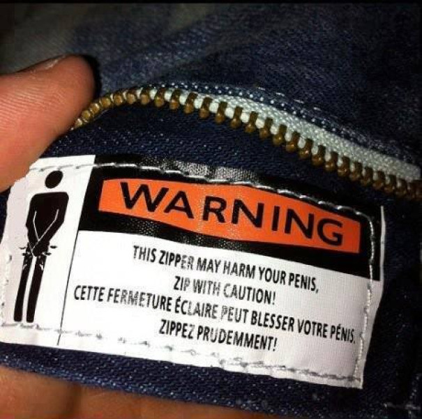 """""""Молния может защемить вам пенис. Осторожнее!"""" инструкция по применению, креатив, правила, руководство, смешно, фото, юмор, ярлык"""