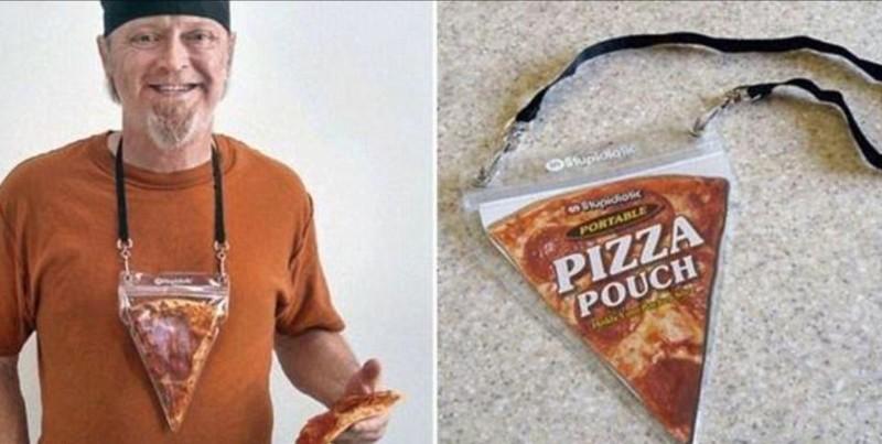 Контейнер для любителей есть пиццу на ходу бессмысленные идеи, бессмыслица, глупо, дурацкие изобретения, идиотизм, изобретатели, изобретения, смешно