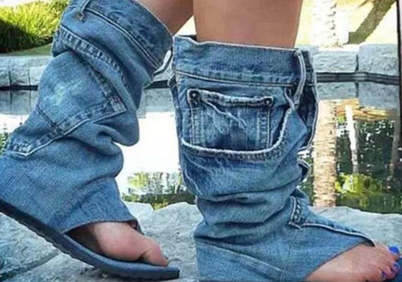 Босоножки с эффектом сползших до щиколоток джинсов бессмысленные идеи, бессмыслица, глупо, дурацкие изобретения, идиотизм, изобретатели, изобретения, смешно