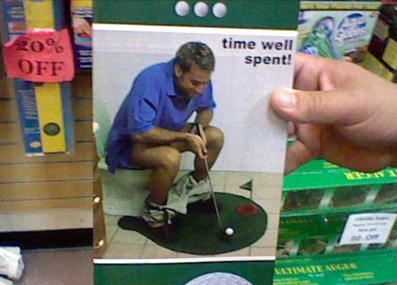 Мини-гольф для уборной бессмысленные идеи, бессмыслица, глупо, дурацкие изобретения, идиотизм, изобретатели, изобретения, смешно