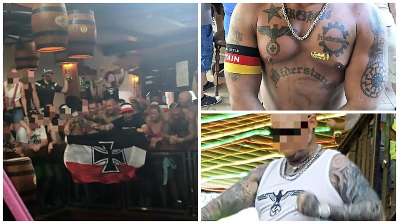 Немецкие неонацисты дебоширят на Майорке германия, испания, майорка, нацизм, нацистская символика, неонацизм, неонацисты, свастика
