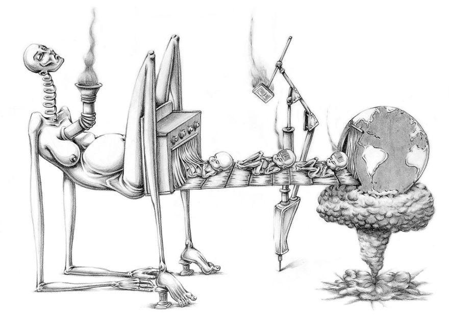 Что не так с современным обществом? Провокационные иллюстрации  аргентинского художника | Политпазл