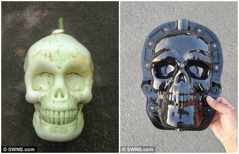 Тыква в виде черепа - отличный вариант для Хэллоуина дизайн, китай, креатив, овощи, природа, ферма, фото, фрукты