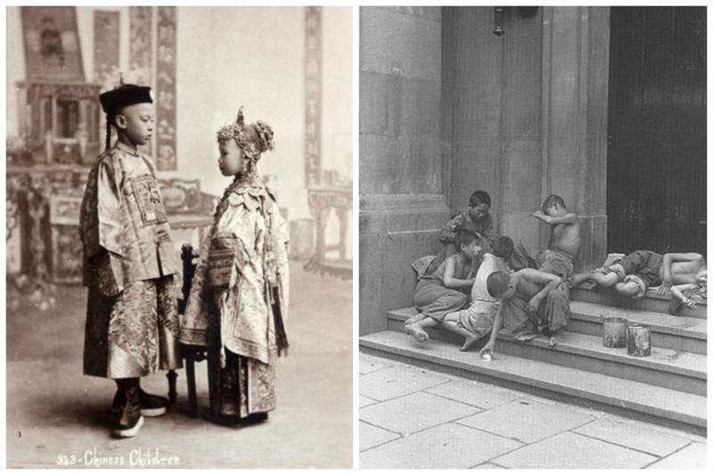 Китайские дети - из знатного рода и бедняки на улицах Шанхая интересное, история, китай, фото
