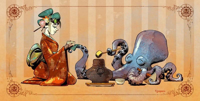 Как выглядит жизнь с домашним осьминогом: работы иллюстратора Дисней art, дисней, иллюстрации, искусство, креатив, осьминог, рисунки, художник