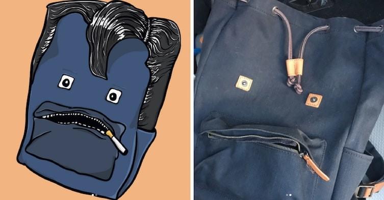 Кого-то этот рюкзак напоминает.. art, видение, иллюзии, иллюстрации, парейдолия, рисунки, художник, юмор