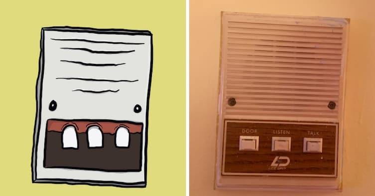 Зубастый дверной звонок art, видение, иллюзии, иллюстрации, парейдолия, рисунки, художник, юмор