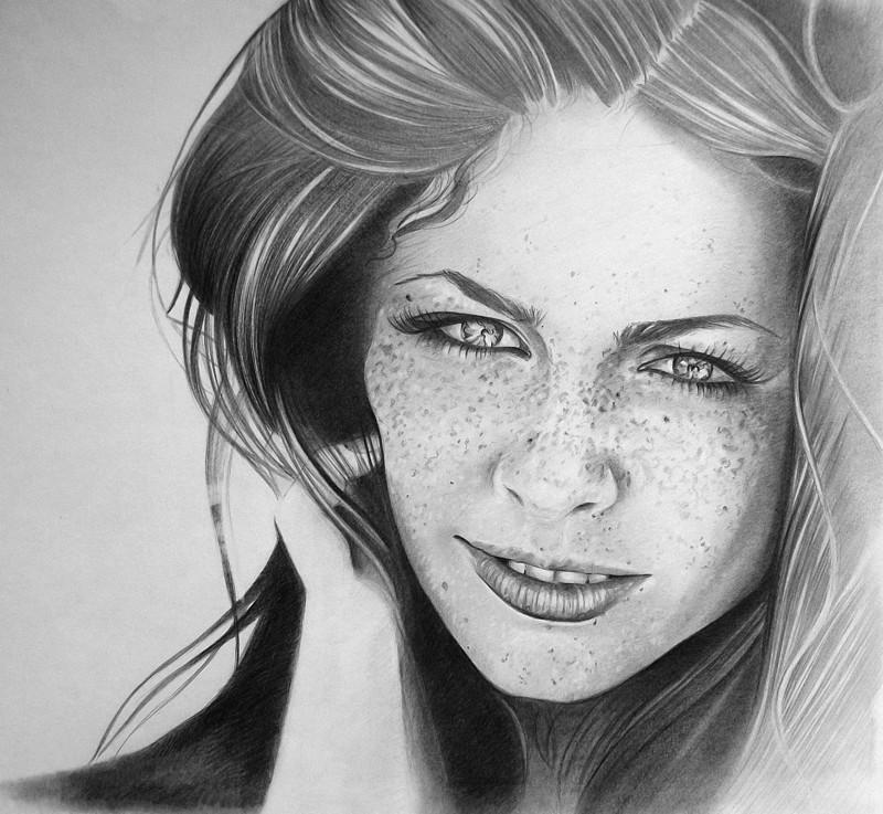 Картинки красивых девушек рисунок карандашом
