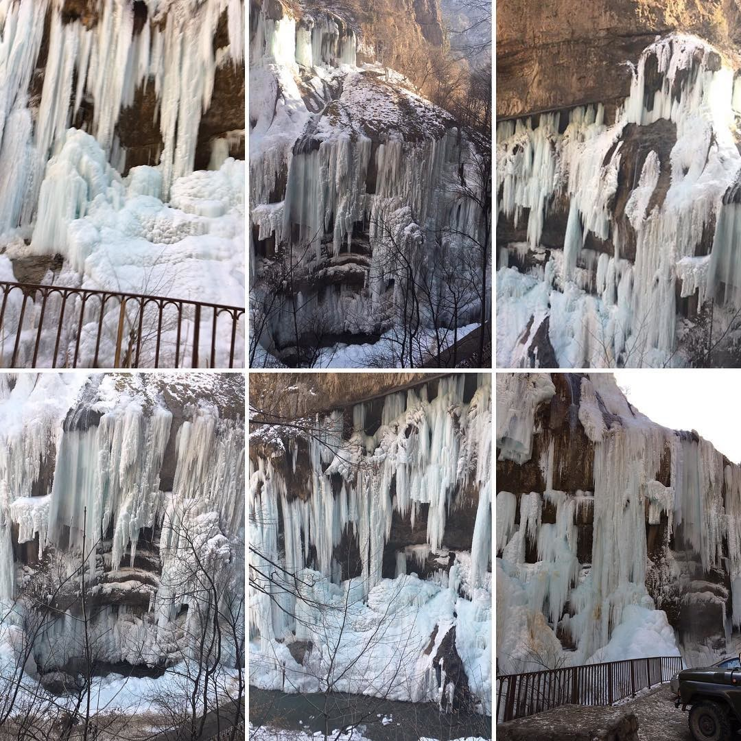 Чегемские водопады, Кабардино-Балкария водопады, водопады России, водопады зимой, замёрзшие водопады, красивые водопады, природа России