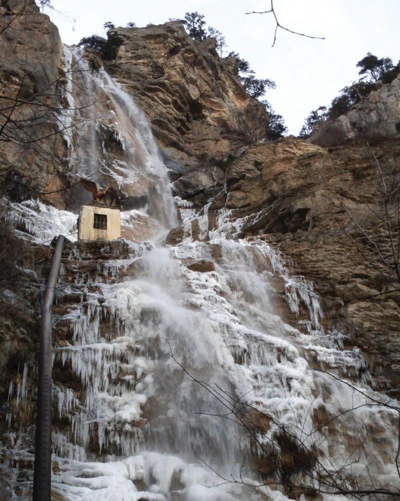 Учан-Су, Крым водопады, водопады России, водопады зимой, замёрзшие водопады, красивые водопады, природа России