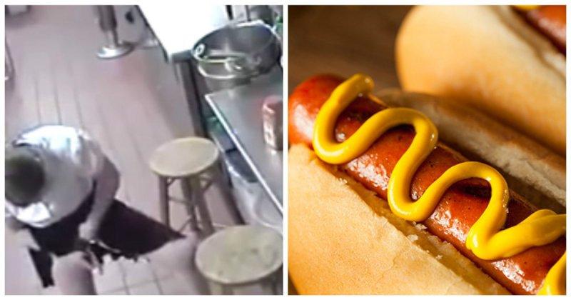 Месть надо подавать к столу горячей: официантка засунула сосиску из хот-дога себе между ног, а затем подала клиенту видео, калифорния, клиент, официантка, ресторан, сосиска, сша, хот-дог