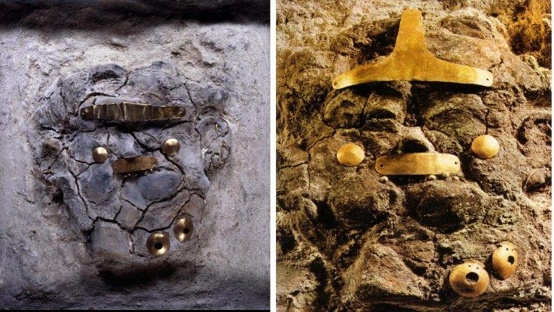Две маски из слабо обожженной глины из кенотафов. археология, гробница, захоронение, золото, интересно, мумия, раскопки, скелет