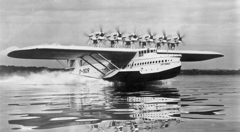 Do-X с новыми моторами идет на взлет. Do-X, Dornier, Дорнье, авиация, воздушная техника, пассажирский самолет, самолет, транспорт