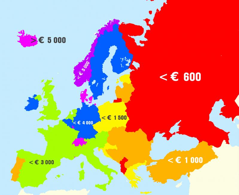 Наглядно о самых низких и высоких зарплатах в Европе доход граждан, европа, заработная плата, заработная плата в Европе, заработок, инфографика, экономика