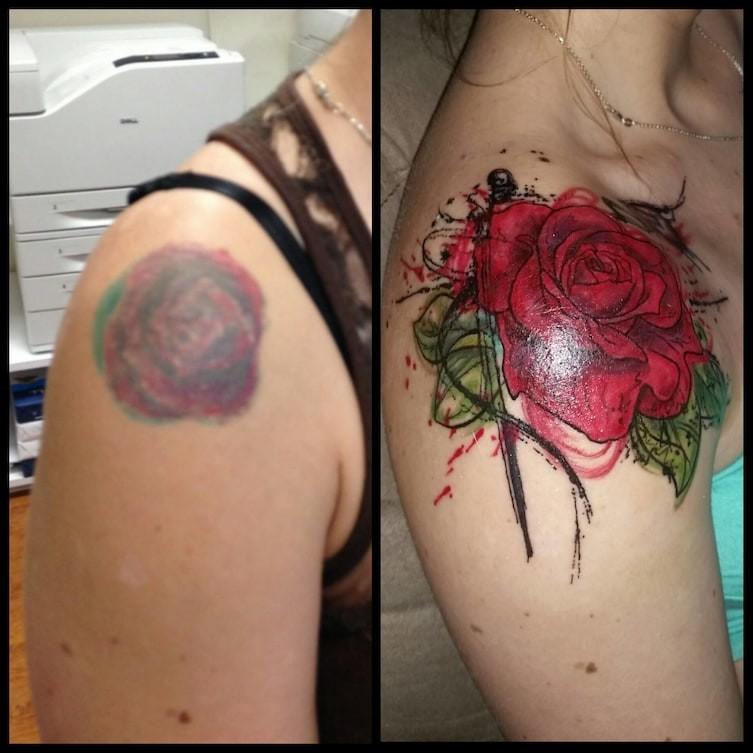Повзрослела, вкусы изменились до и после, неудача, ошибки, перекрытие, татуировки, трансформация, фото, юмор