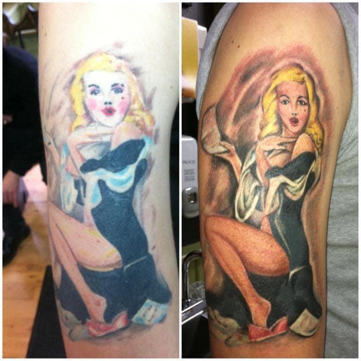 Из героини фильмов ужасов в девушку пин-ап до и после, неудача, ошибки, перекрытие, татуировки, трансформация, фото, юмор