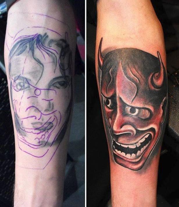 С чувством юмора всё в порядке до и после, неудача, ошибки, перекрытие, татуировки, трансформация, фото, юмор