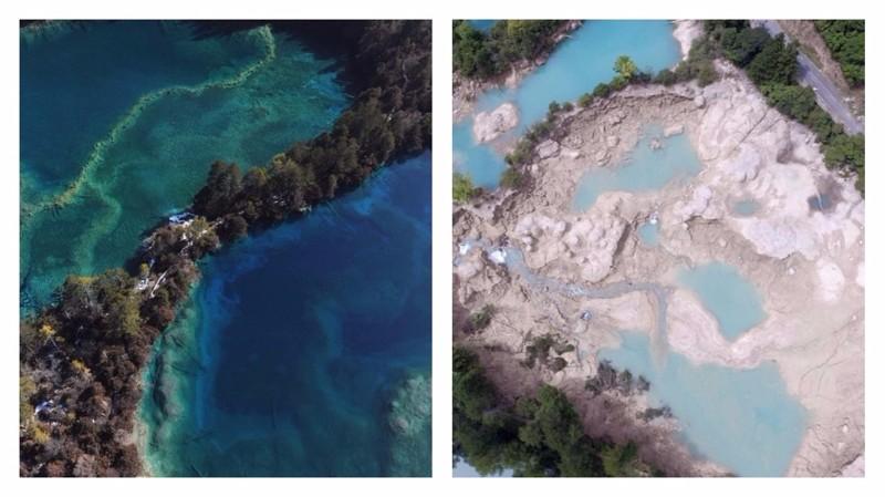 Землетрясение в Китае: снимки до и после Сычуань, до и после, землетрясение, китай, национальный парк, оползни, стихийное бедствие, стихия