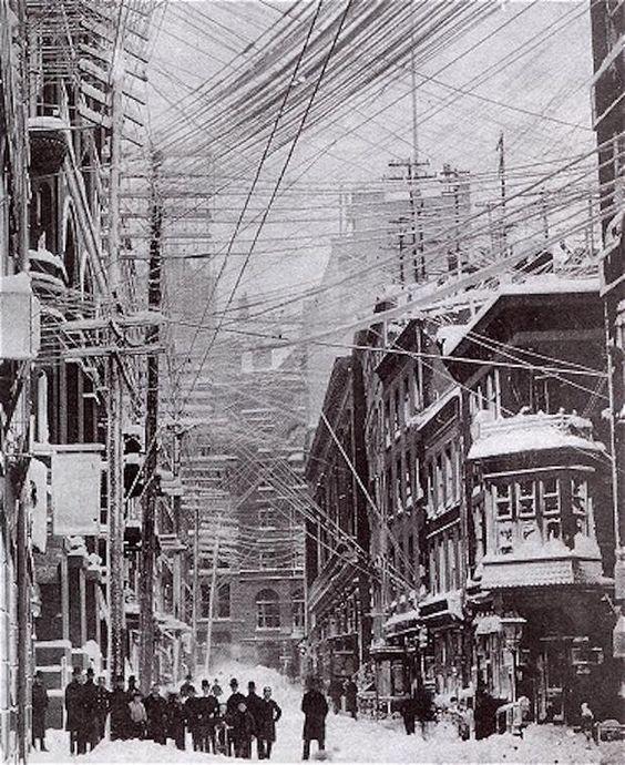 Нью-Йорк 1888 год безобразие, перепутано, провода, страны, ужас перфекциониста