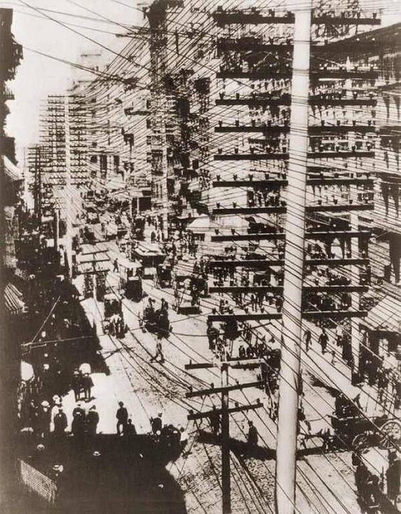 Манхеттен, 1887 год безобразие, перепутано, провода, страны, ужас перфекциониста