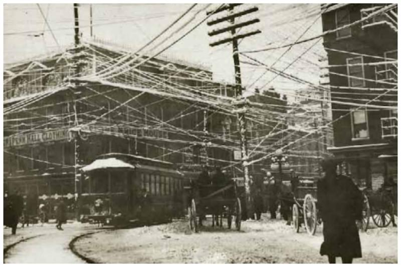 Провода. 1910 год безобразие, перепутано, провода, страны, ужас перфекциониста