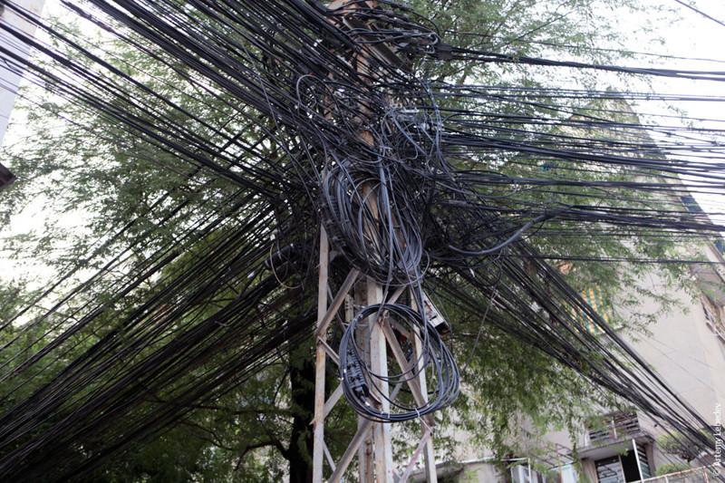 Современная страна, где более всего видимых проводов - Индия безобразие, перепутано, провода, страны, ужас перфекциониста