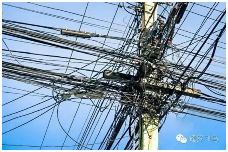 Такие скопления проводов можно встретить в Китае безобразие, перепутано, провода, страны, ужас перфекциониста