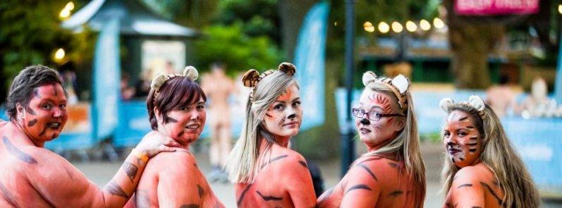 Голышом в защиту тигров благотворительность, великобритания, голышом за тигров, защита природы, лондон, лондонский зоопарк, лондонское зоологическое общество, необычный забег