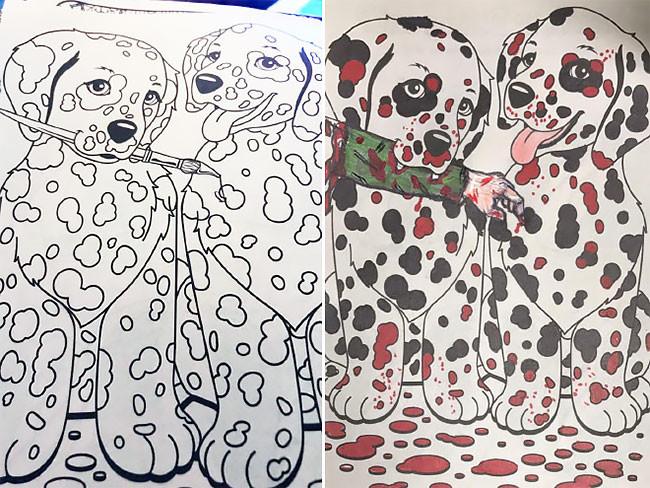 Вот что происходит, когда взрослые берут в руки раскраску для детей дети, прикол, раскраска, рисунок, родители, художники, юмор