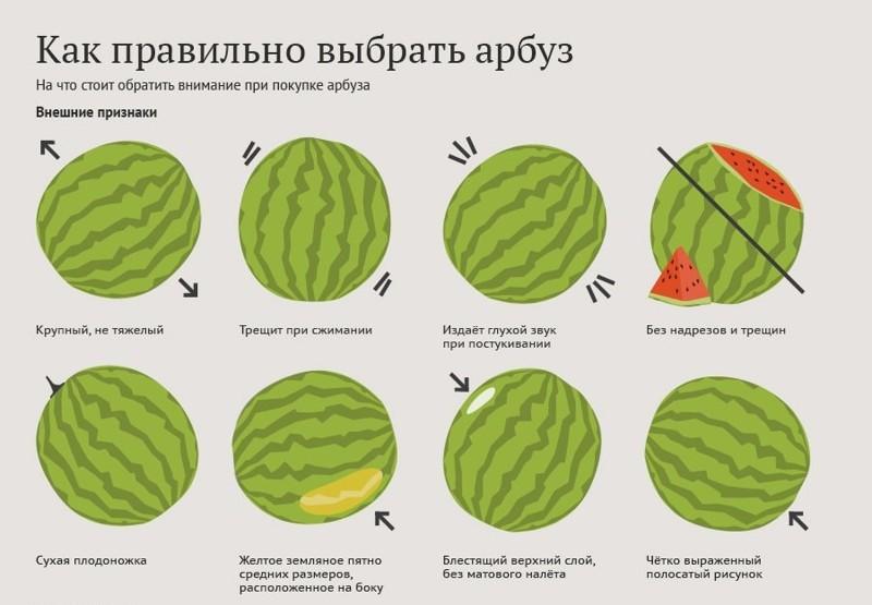 А вот еще 8 признаков, по которым можно определить хороший арбуз Лайфхак, арбуз, выбор, житейская хитрость, лето, нитраты, рецепт, рынок