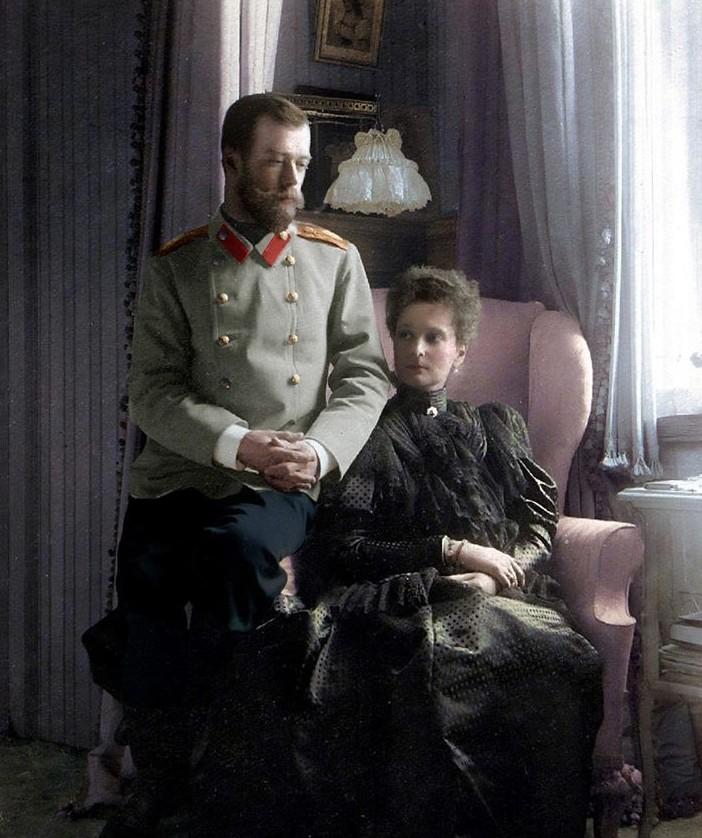 Николай II и Александра Фёдоровна. история., колоризированные снимки, люди, россия, фото