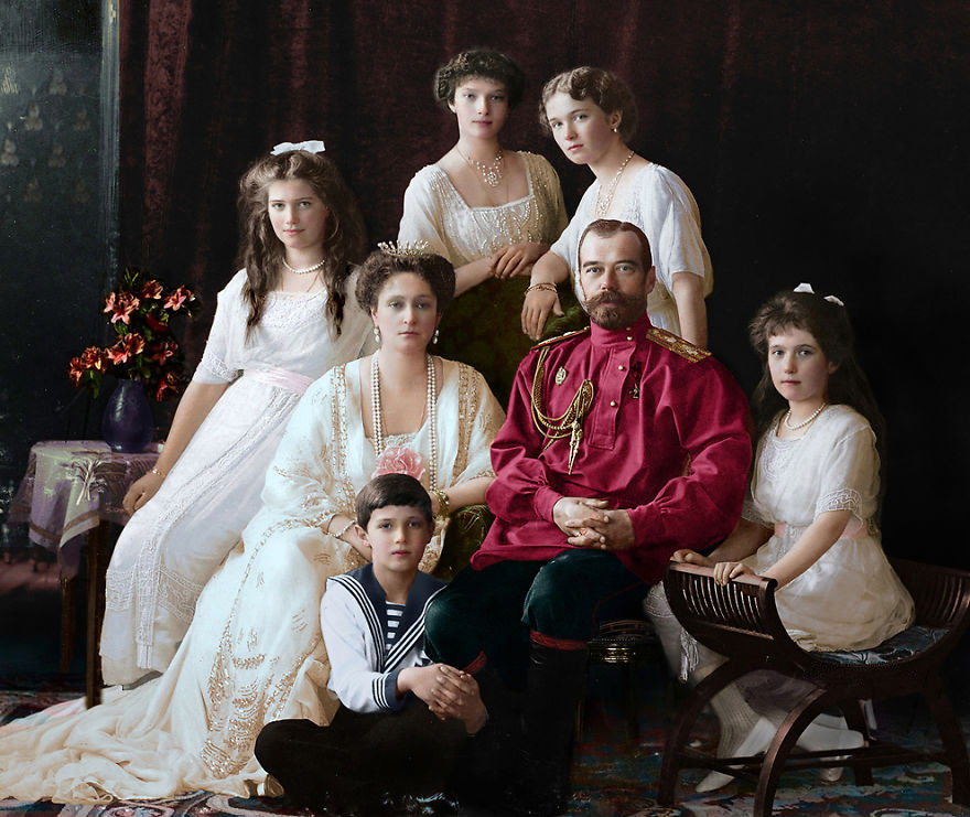 Императорская семья, 1914. история., колоризированные снимки, люди, россия, фото