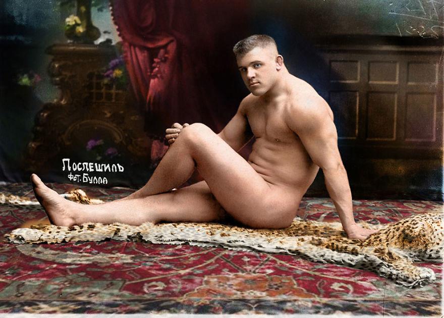 Русский борец Карл Поспешил, 1912. история., колоризированные снимки, люди, россия, фото