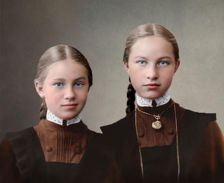 Воспитанницы женской гимназии, 1900-1917. история., колоризированные снимки, люди, россия, фото