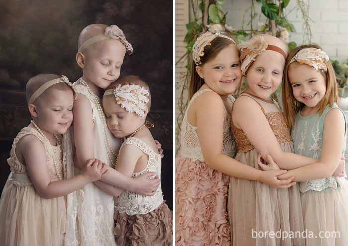 3-летняя Райли, 6-летняя Реанн и 4-летняя Эйнсли повторили фото 3 года спустя. Сейчас все девочки здоровы! выздоровление, до и после, заболевание, недуг, преображение, рак, трансформация, фото