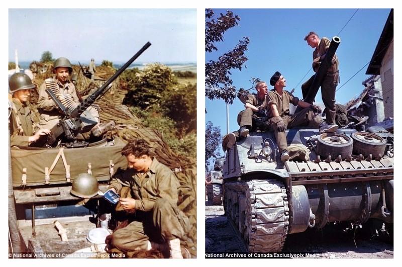 Слева - американцы на бронетранспортере M3A1, справа - канадцы на танке Sherman. Отдых перед боем в период битвы за Кан. 28 июля 1944 г. архивные фотографии, военные фото, вторая мировая война, вторая мировая. фото, нормандия, франция