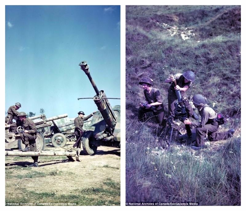 Канадские солдаты осматривают захваченное немецкое оружие (слева) и позируют с минометом (справа) архивные фотографии, военные фото, вторая мировая война, вторая мировая. фото, нормандия, франция